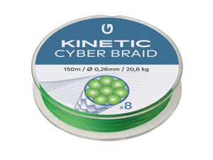 Bild på Kinetic Cyber Braid X8 Fluo Green 150m 0,30mm / 23,8kg