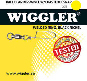 Bild på Wiggler Ball Bearing Swivel With Coastlock Black Nickel (1-2 pack) #4 / 46kg (2 pack)