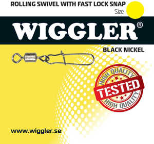 Bild på Wiggler Rolling Swivel Fast Lock Snap Black Nickel (2-8 pack) #6 / 18kg (8 pack)